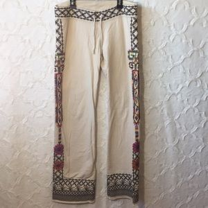 Lucky Brand Knit Wear Cotton Embroidered Boho Pant